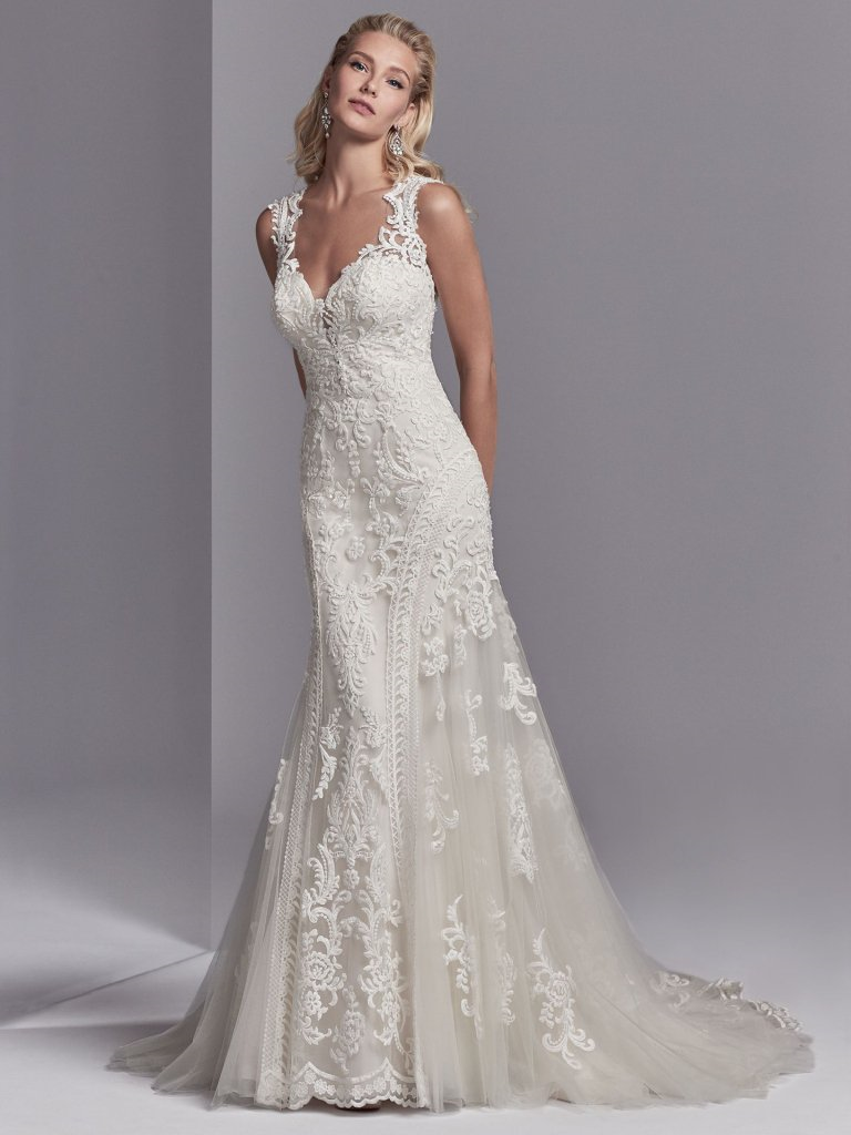 We sell designer bridal gowns that can be purchased either by Special Order or Off The Rack.